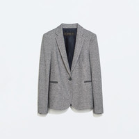 Plush blazer with elbow patches