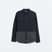 Mixed fabric overshirt
