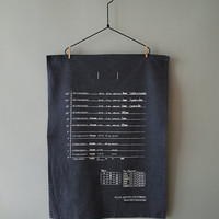 Handy Kitchen Conversion Chart Tea Towel - White on Washed Blue