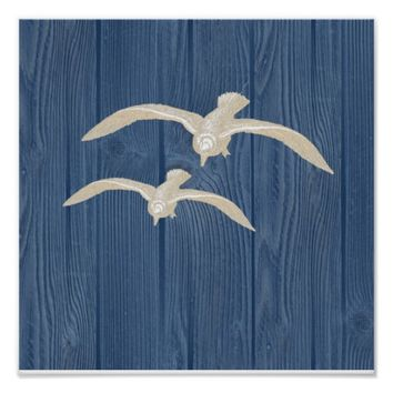 Sea Gull Vintage Blue Wood Beach Poster