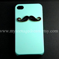 BLACK Mustache Light Green Iphone 4 Case, iPhone 4s Case, iPhone 4 Hard Case, iPhone Case cover