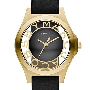 MARC BY MARC JACOBS 'Henry Skeleton' Leather Strap Watch, 34mm