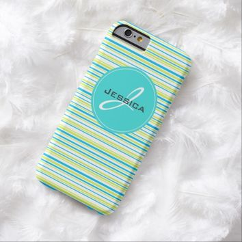 Blue lime green stripes monogram iPhone 6 case