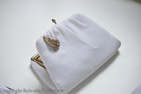 White Chiffon Bridal Purse with Rhinestone Gold Accents