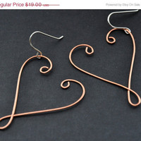 CIJ Copper Heart Earrings, Large Celtic Hearts Earring, Rustic Thin Wire Jewelry, Handcrafted, Hammered Mixed Metal