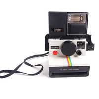 Vintage Polaroid One Step Land Camera  - 1970s Camera with Lenmar PS-7 Flash Unit / Iconic Rainbow
