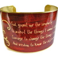 "Serenity Prayer Vintage Style Brass Cuff Bracelet: ""God, grant me the serenity ..."" - Whimsical & Unique Gift Ideas for the Coolest Gift Givers"