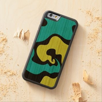 Blue green lime abstract art Phone wood case