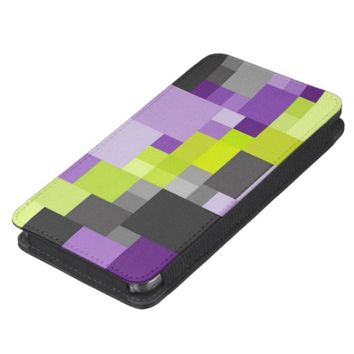 Green purple abstract geometric Phone pouch