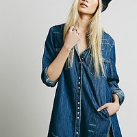 Free People Womens Western Detail Buttondown - Indigo Combo,