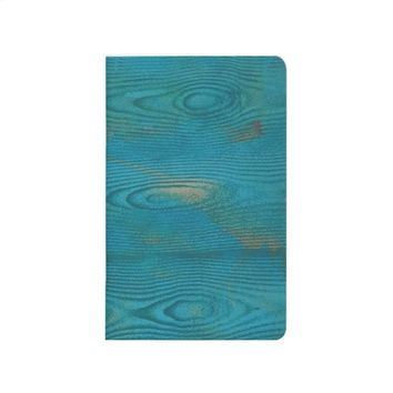 Abstract teal blue wood texture Pocket journal
