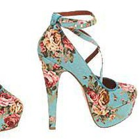 Office ?Simple Minds? blue floral criss-cross platform heels> Shoeperwoman