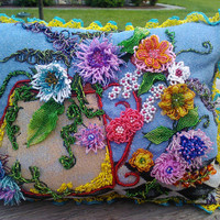 3-D beaded  spring and summer flowers decorative pillow