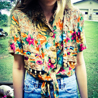 Vintage Women's Multi Yellow Hawaiian Button Up Tie Up Crop Top Blouse Shirt Small Medium