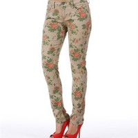 Pre-Order: Khaki Floral Print Skinny Jeans
