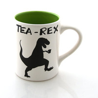 tea-rex mug, t rex, dinosaur mug, gift for tea lover, earthenware