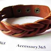 Deep Brown Leather  Woven  Metal Buckle Adjustable Women or Men Cuff Bracelet  333A