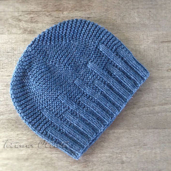 Jeans blue hat beanie for men hand knit unisex wool gift winter textured - MADE TO ORDER
