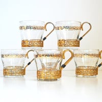 Vintage Greek Key Glasses Tumblers Gold Greek Keys Mugs Libbey Continental Cups Brass Holder Hot or Cold Coffee Cups Glass Tumblers
