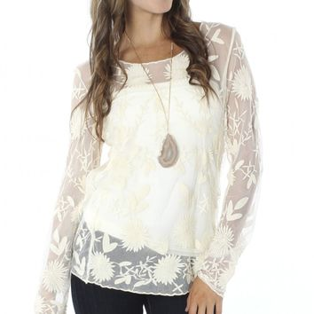 Sheer Lace Top Cream