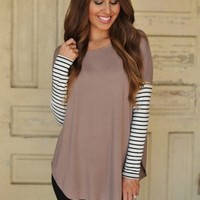Solid Tunic Mocha- Striped Sleeves