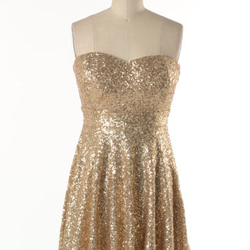 """Sweetheart"" Gold Sequin Dress"