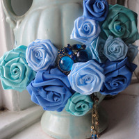 Blue Roses Statement Flower Bib Necklace
