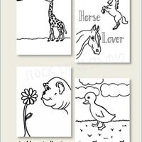Animal coloring pages, 4 Printable Hand drawn 8x10.5 black white duck horse gorilla giraffe children's game, kids educational drawing pages