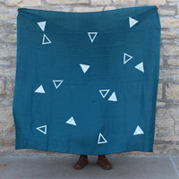 Block Printed Linen Everyday Throw in Deep Teal Triangle