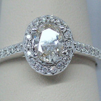 0.83ctw Oval Cognac Diamond Engagement Ring in 14k White Gold