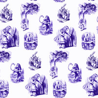 Alice in Wonderland collage purple - 13moons_design - Spoonflower