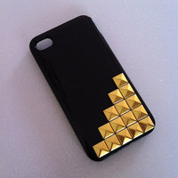 Black x Gold Studs iPhone 4 4s Case