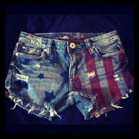 Patriotic Upcycled/Distressed Denim Shorts Size 7
