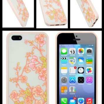 iPhone 5 iPhone5 Floral Hard Case & Bumper + Home Button Stickers Lot