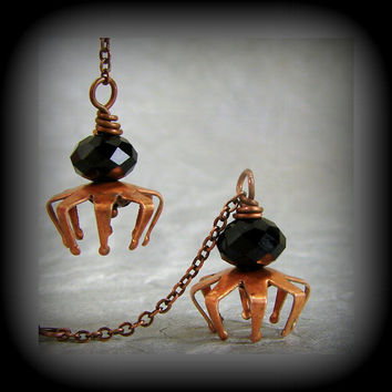 Spider Dangle Earrings Black Crystal Copper Halloween Jewelry Costume Accessory