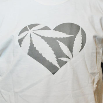 """T shirt , Weed, Casual, Free Shipping, """"HEART WEED"""", White, Graphic Design, Marijuana, Medical Cannibis, Pot, High Times, 420, Baked, Bong"""