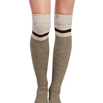 Striped Heathered Knee-High Socks | Wet Seal