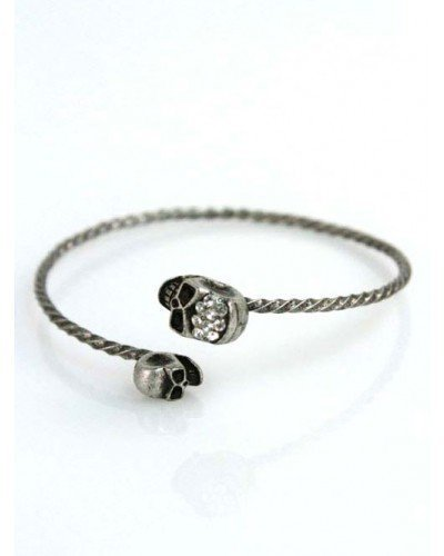 Antique Metal Double Skull Cuff Bracelet