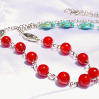 Southwestern necklace in red glass and turquoise turtle beads