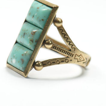 Vintage Carved Cocktail Ring-Blue Aqua Ring