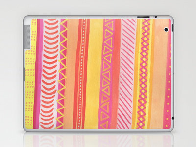 Tribal#1 (Orange/Pink/Yellow) Laptop & iPad Skin by haleyivers | Society6