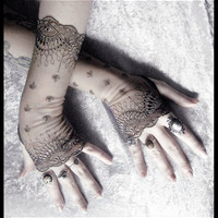 Bianca Long Lace Fingerless Gloves - Grey Olive Embroidered Damask - Gothic Vampire Wedding Fetish Tribal Bellydance Burlesque Goth Bridal