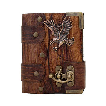 Flying Eagle Pendant On A Brown Mini Leather Journal / Diary / Lock / Sketchbook / Notebook / Leatherbound