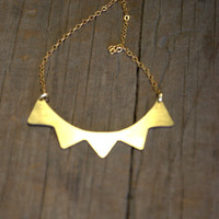 Antler Raw Brass Necklace -   Modern and Simple