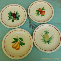 Vintage 1950s Plates by M & R California Pottery - Set of Four Fruit Plates - Retro