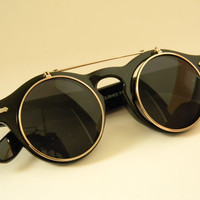 ROUND Flip-Up WAYFARER CLUBMASTER Sunglasses Black with Bar Across the top