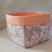 Lovely Tan and Peach Cherry Blossom Print Fabric Basket