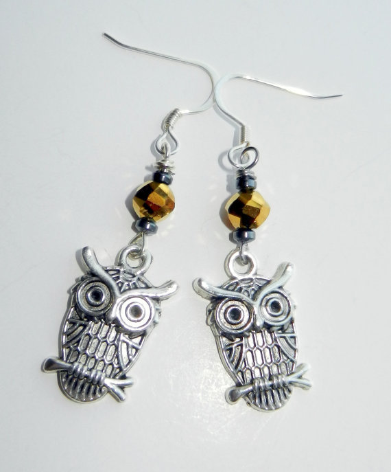 Silver and Gold Owl Dangle Earrings