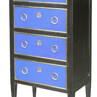 Directorie Style Chest with Four Drawers in Black with Blue Leat