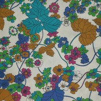2 YDs Vintage Cotton Fabric Leaves, Floral Great Colors